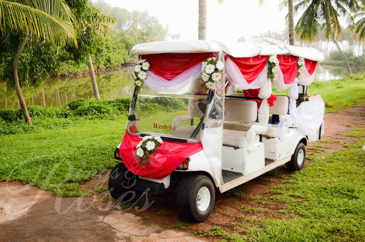 Bridal Car Decor - Rings & Roses ~ Wedding Planners on ford think electric golf cart, burning man golf cart, pink golf cart,